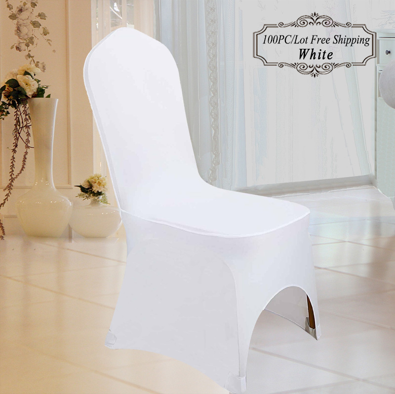 10 100 PC Universal White Stretch Elastic Polyester Spandex Wedding Chair Cover for Wedding Party Banquet