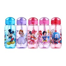 Eco-friendly Kids Drinking Cartoon Water Bottles BPA Free Plastic Straw Children Bottle Children Kettle Portable Sports Bottle
