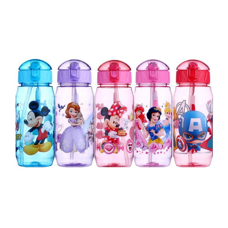 Eco-friendly Kids Drinking Cartoon Water Bottles BPA Free Tritan Straw Children Bottle Children Kettle Portable Sports Bottle image