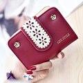 Hot Sale Elegant Flower Hollow Women Short Wallet Case Fashion Lady Mini Purse PU Leather Hasp Female Card Holder Carteras Mujer