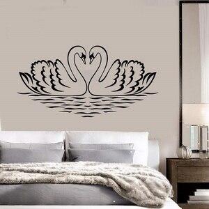 Image 1 - Autocollant mural en vinyle, autocollant damour doiseau cygne, décoration pour la chambre à coucher, décoration artistique pour la maison, 2WS34