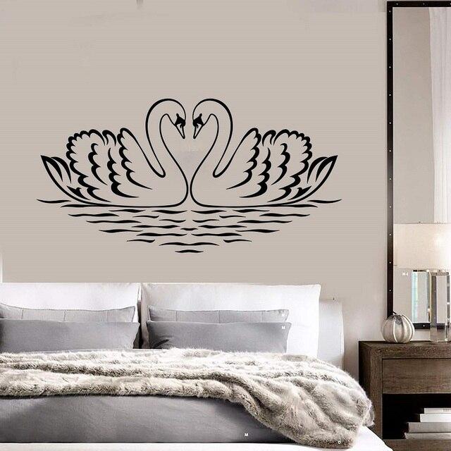 Ścienne winylowe aplikacja łabędź ptak miłość romantyczna sypialnia naklejka dekoracyjna ozdoby do dekoracji domu mural tapety 2WS34