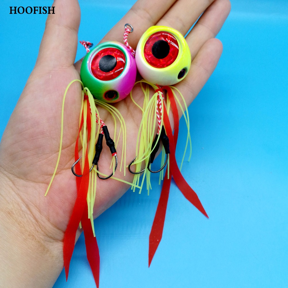 HOOFISH 1PCS lead Jig head with fishing lure skirt 120g 3colors Four 3D eyes metal fishing lure