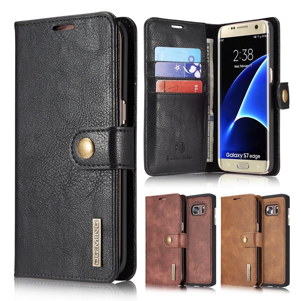 imágenes para 2in 1 Funda de piel Para Samsung Galaxy Teléfono S7 Borde Magnético Caso Del Tirón Del Cuero Cubierta de la carpeta de Samsung Galaxy S7 Edge Cubierta de Coque