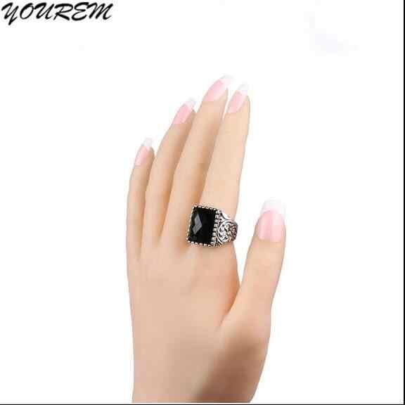 2019 ใหม่แฟชั่นโบราณสีบรอนซ์เงินสีอะคริลิคหินสีดำสแควร์แหวนผู้ชายเครื่องประดับอุปกรณ์เสริมของขวัญ wj532