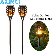 LED Solar Flame Flickering Lawn Lamps Led Torch Light Realistic Dancing Flame Light Waterproof Outdoor Garden Decor Flame Lamp недорого