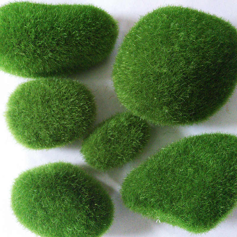 1pcs Simulation Moss Irregular Green Stones Grass Aquarium Garden Plant DIY Micro Landscape Fish Tank Decorations