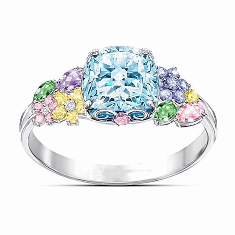 Unique Style Female Crystal Round Flower Ring Luxury Fashion Silver Blue Yellow Wedding Rings Promise Engagement Rings For Women