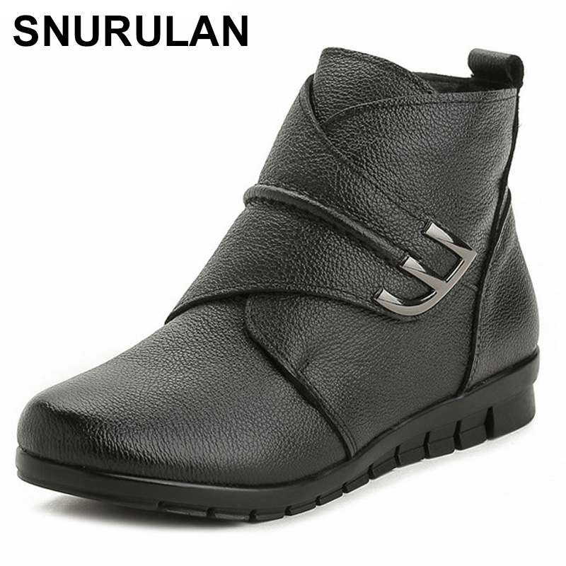 SNURULAN New Plush Women Boots Ankle Snow Boots Woman Keep Warm Winter Mother Shoes Soft Genuine Leather Flats Shoe Cotton Woman taoffen genuine leather motorcycle boots biker shoes women suede pointed snow boots brand shoe famous designer woman flats punk