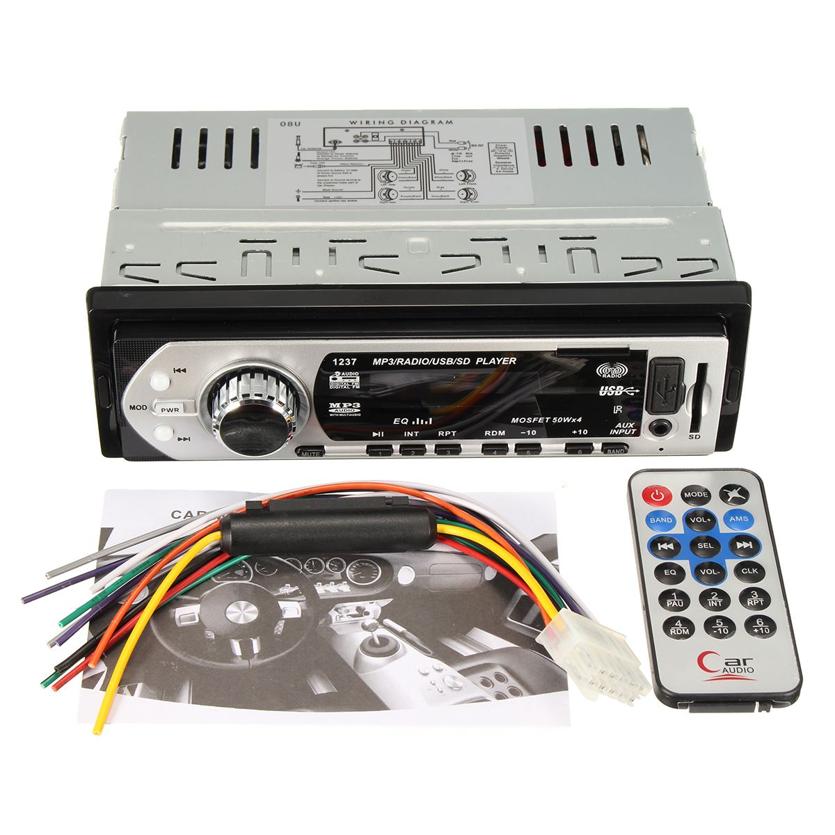 12 V Transmisor Fm USB/SD AUX Electrónica LED Display Car Audio Estéreo En El Ta