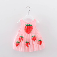 Hot Sale New 2017 Summer Girl Dress Strawberry Baby Girl Dress Children Clothing Children Dress 0