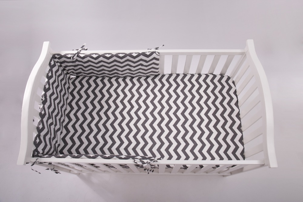 1 pcs Half around bumpers,Grey Fashion Bed Cot bedding set for newborn babies Infant Room Kids Baby Bedroom Set