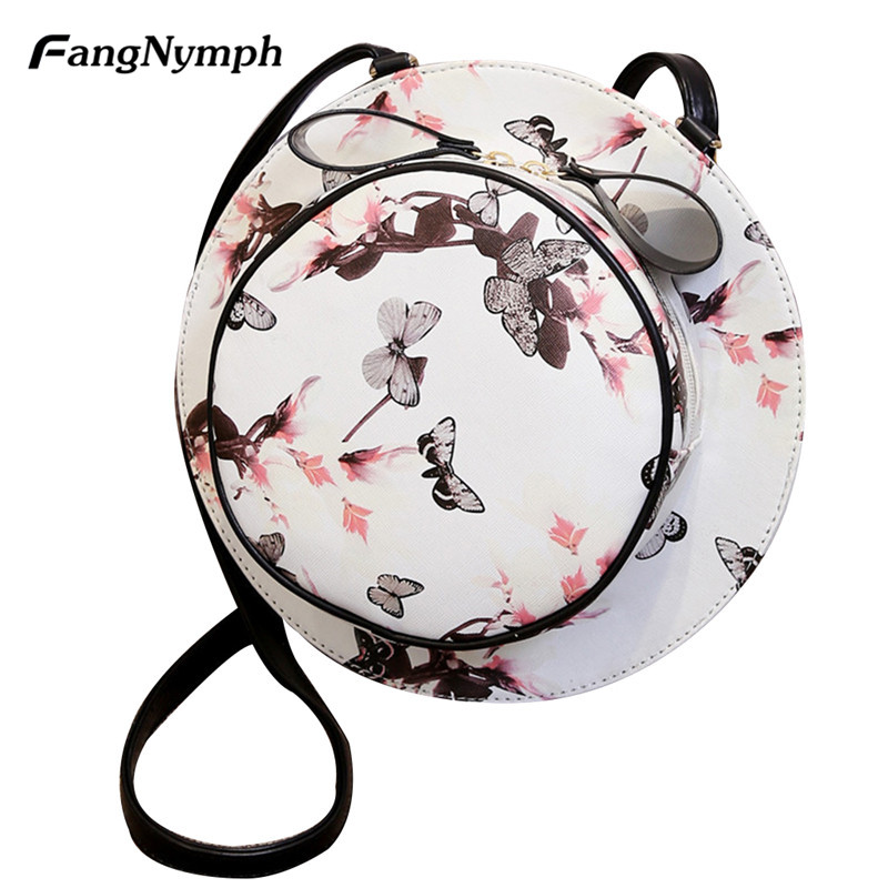 FangNymph 2018 New Designer Fashion Women Girls Round Hat Shape Flower Pattern Travel Bag Female Summer Beach Shoulder Bags round shape print beach throw