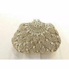 8309S silver Crystal Floral flower Wedding Bridal Party Night hollow Metal Evening purse clutch bag handbag case box