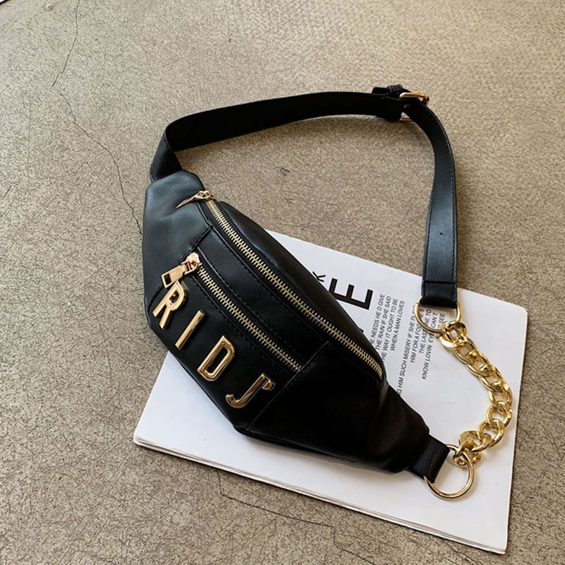 Women's Waist Bag Fashion Letter Fanny Pack PU Leather Belt Bag Female Chain Crossbody Chest Bags Banana Hip Bag Small Pocket