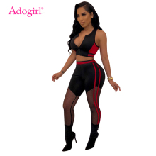 Adogirl Sheer Mesh Color Patchwork Sexy Two Piece Set Women Tracksuit Zipper V Neck Tank Crop Top Skinny Pants Slim Outfits