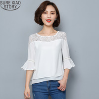 Women Crop Tops 2017 New Fashion Korean Trumpet Sleeve Solid Color Blouse Tops O Neck Loose