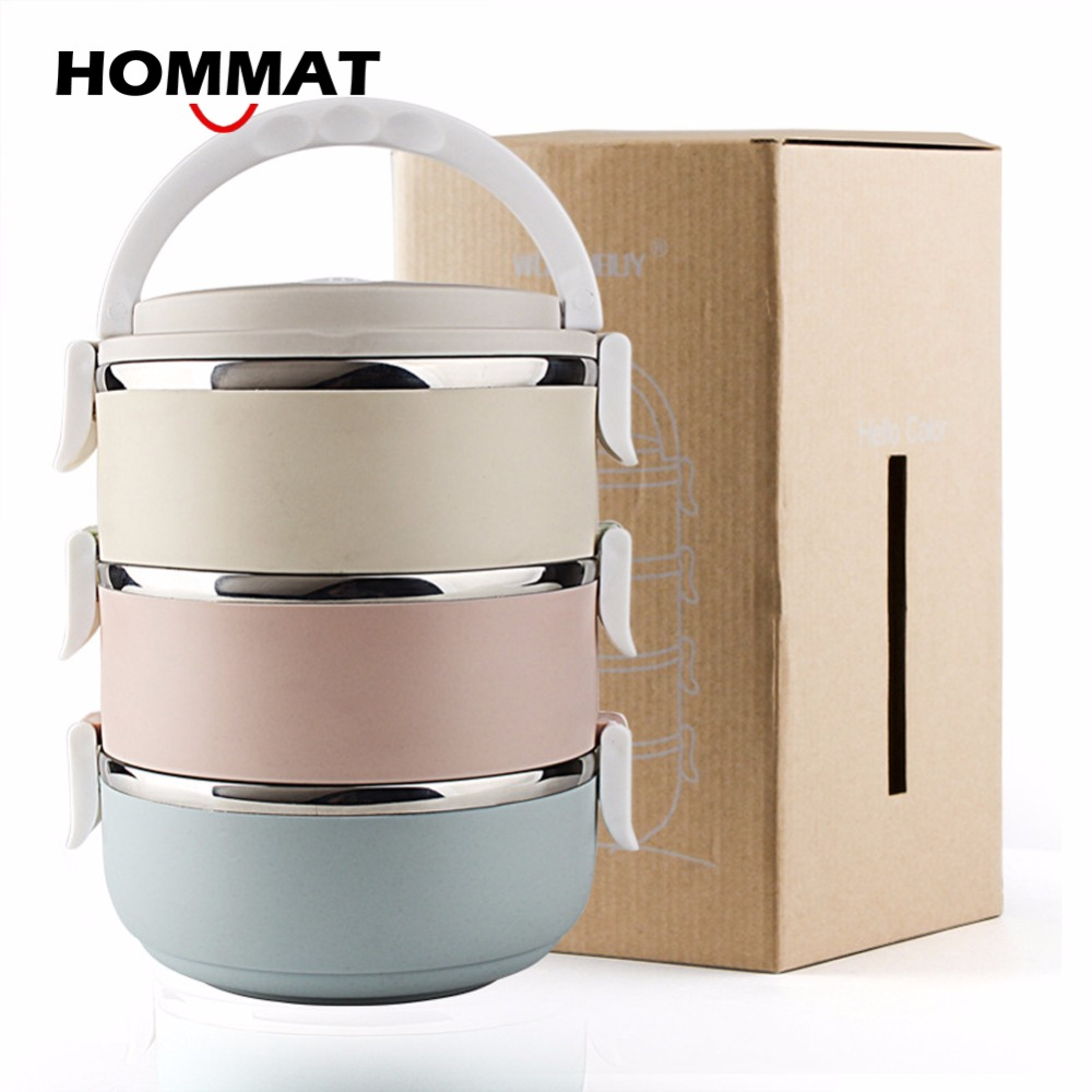 3 layer stainless steel thermos bento lunch box japanese food box insulated lunchbox thermal. Black Bedroom Furniture Sets. Home Design Ideas