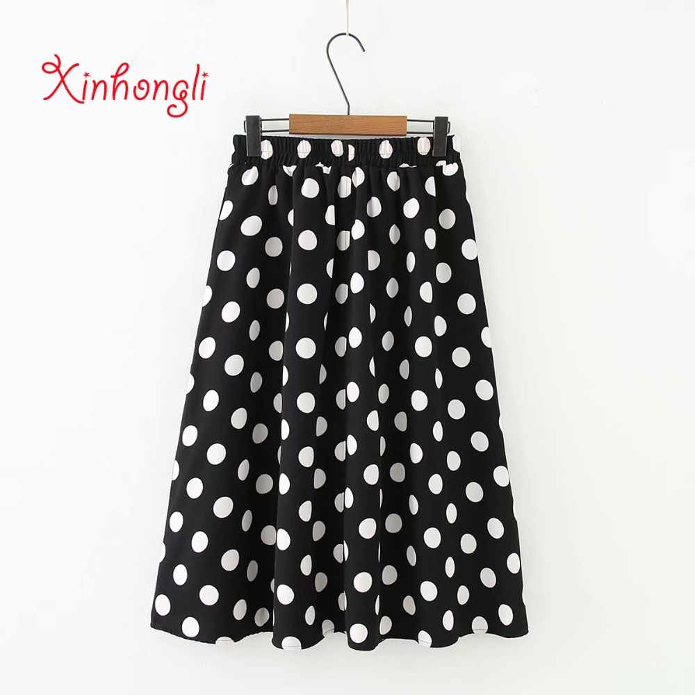 5f1dc22915 Plus size Dot black & white chiffon women skirts 2019 spring summer new  casual ladies Elastic
