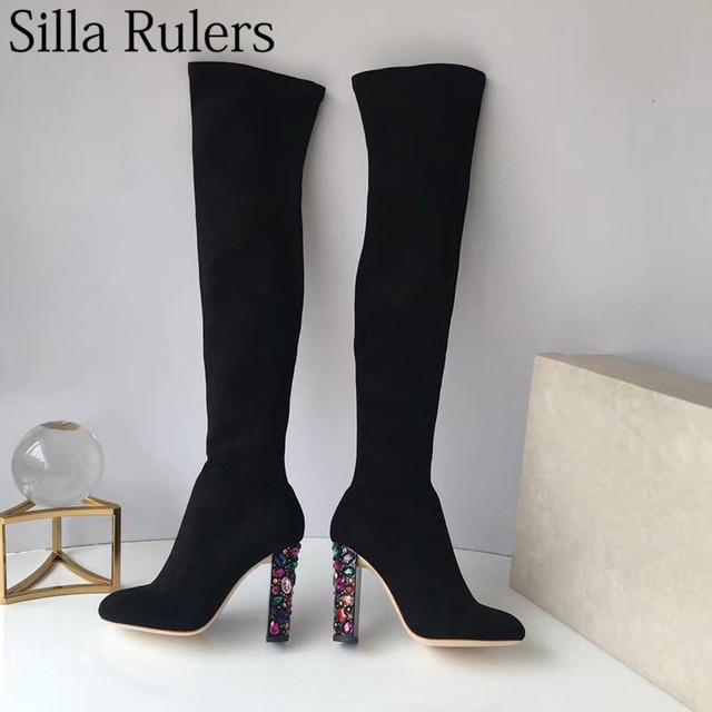 Silla Cetveller Streç Akın Diz Çizmeler Üzerinde Kadın Cam Kristal Yuvarlak Topuklu Süper Yüksek Gerçek Deri Alt Botları Yalın bacak Botları