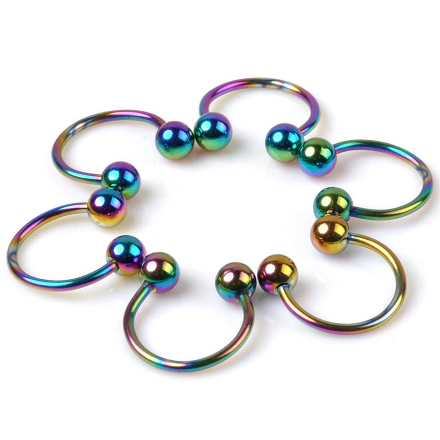 10Pcs lot Stainless Steel smiley piercing Colorful U Shape Fake Nose Rings nose hoops Ear Helix Piercing Body Jewelry in Body Jewelry from Jewelry Accessories