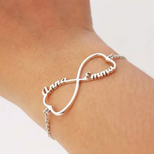 Personalized infinite Name Bracelet Heart Shape Charms Handmade Women Kids Jewelry Signature Love Message Customized Gift