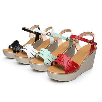 Platform Wedge Sandals | Fashion Split Leather Wedges Shoes For Women Summer Sandals 2019 Ankle Buckle Platform Sandals Ladies Black Red White Blue