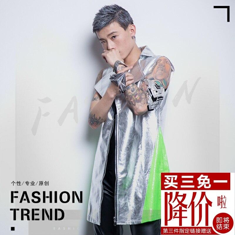 S 5xl! 2020 Dj Мужская мода новый мужской стилист волос длинный кожаный жилет плюс размер сценический певец костюмы одежда