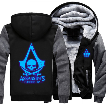 Assassins Creed Luminous Jacket Sweatshirts Thicken Hoodie Coat Clothing Casual