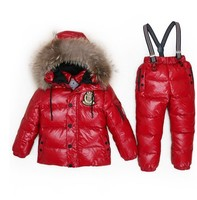 Children 2 4 6 8 winter fur hooded down ski Snow suit coat Jacket+overalls clothes baby kids boy girl set outwear Boy Clothes