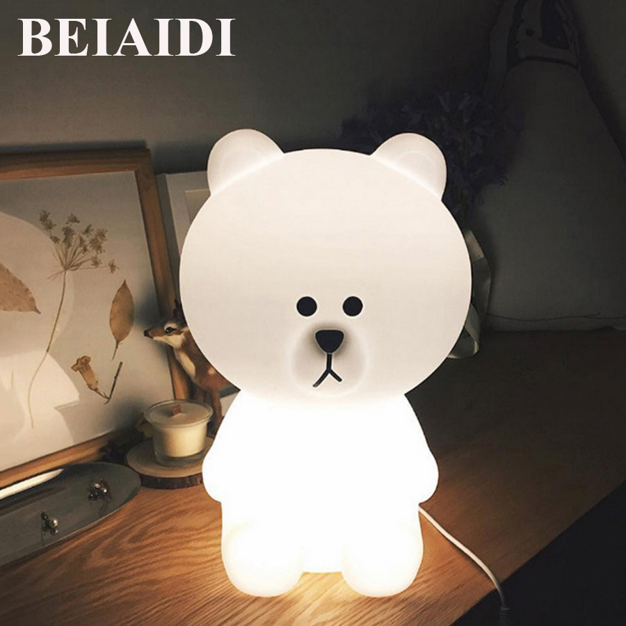 BEIAIDI Big Rabbit Bear Dimmable Led Night Light Cartoon Bedroom Desk Table Lamp for Baby Children Kids Birthday Christmas Gift kawaii animal lamp 3d led night light lovely cartoon rabbit multicolor change table home child bedroom decor kids birthday gift