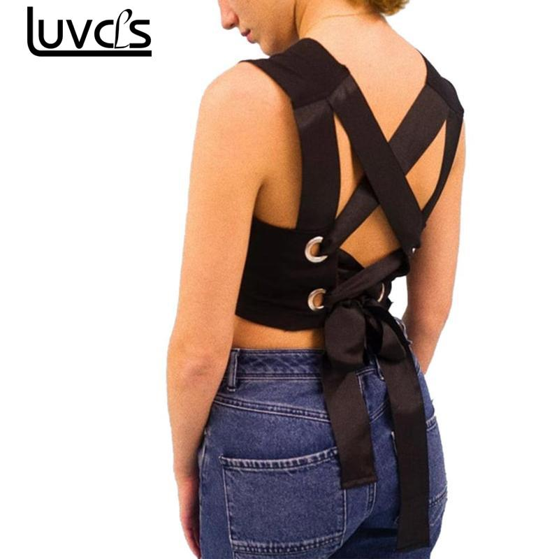 LUVCLS New Summer Sexy Black Tops Patchwork Backless Bandage Lace Up Sexy Crop Tops 2018 Women Fashion Summer Tank Top Women