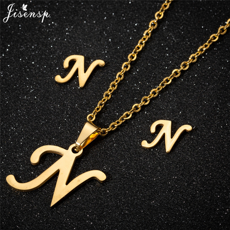 Jisensp Personalized A-Z Letter Alphabet Pendant Necklace Gold Chain Initial Necklaces Charms for Women Jewelry Dropshipping 29