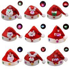 Souarts adornos de Navidad superior luminoso LED lámpara banda sombreros de  Santa niños niñas Cap para el hogar Navidad apoyos d. 4d4c1b8bc10