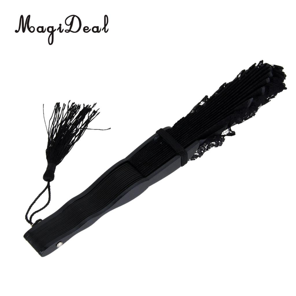 MagiDeal Chinese Vintage Lace Trim Bamboo Hand Fan Folding Fan ...