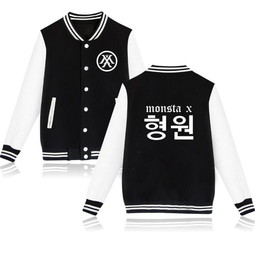 KPOP MONSTA X Long Sleeve Slim Baseball Uniform Outerwear Bomber Jacket Baseball Jacket Women Hoodies Sweatshirts K-POP Clothes
