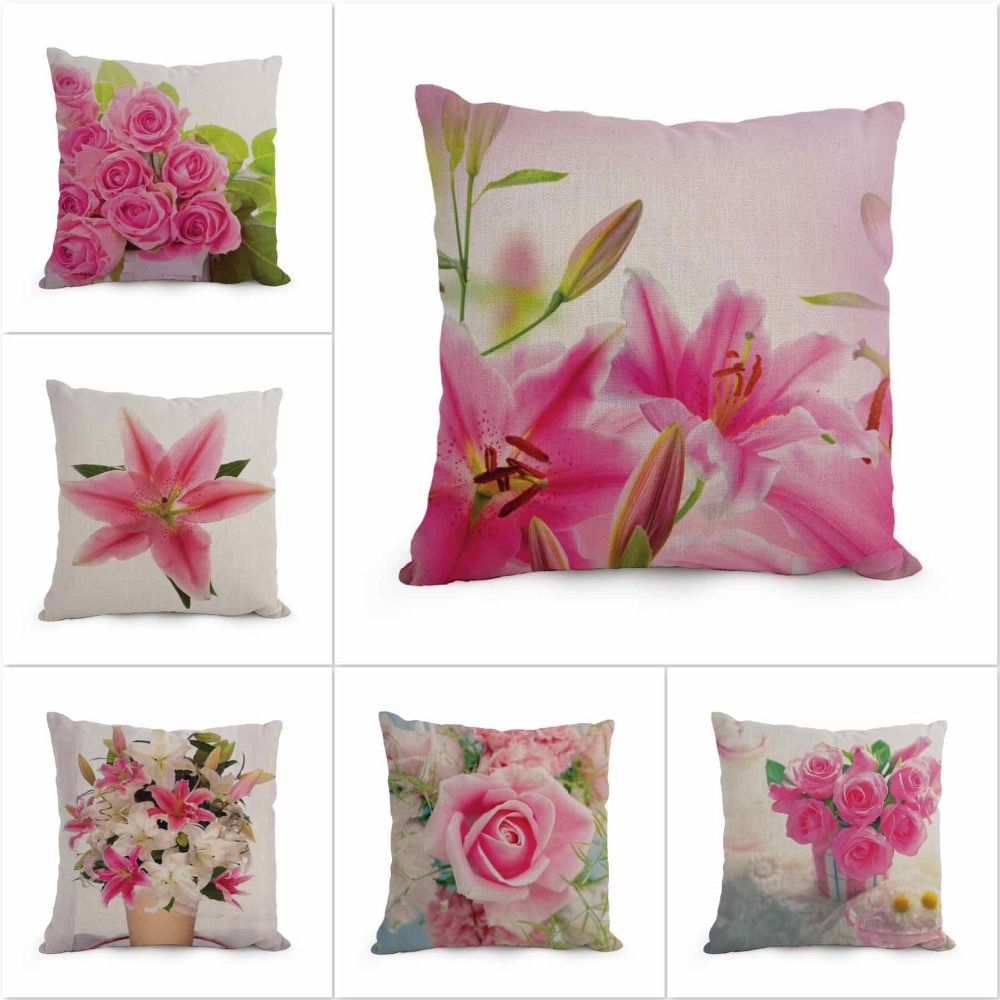 45x45cm Printed Linen Cotton Decorative Floral Cushion Cover Home
