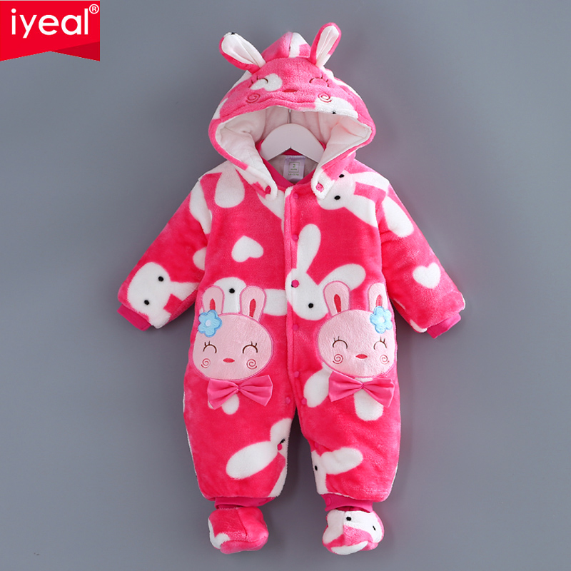 IYEAL NEW Winter Baby Rompers Clothes Long Sleeved Newborn Boy Girl Coral Fleece Baby Jumpsuit Infant