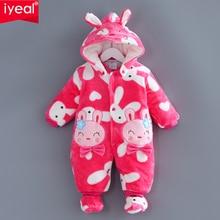 Iyeal nouvelle hiver bébé barboteuses vêtements à manches longues nouveau-né garçon fille coral polaire bébé salopette infantile bébé vêtements pour 0-12 m