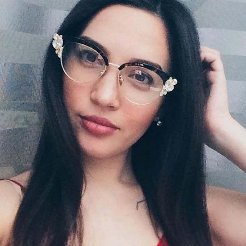 CCSPACE Lady Cat Eye Shiny Rhinestones Glasses Frames For Women ...