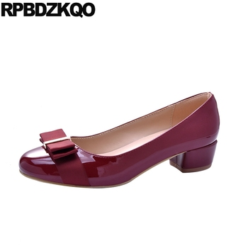 designer chunky wine red footwear kawaii size 33 ladies mid heels shoes 2019 low big round toe patent leather thick bow black