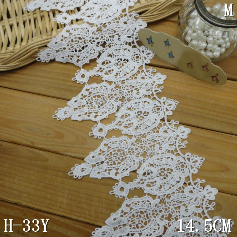 25yards Embroidery Lace Trim 14.5cm Wide Garment Decoration Wedding Dress Lace Trimming DIY Sewing Craft Wedding Voile Lace Trim-in Lace from Home & Garden    1
