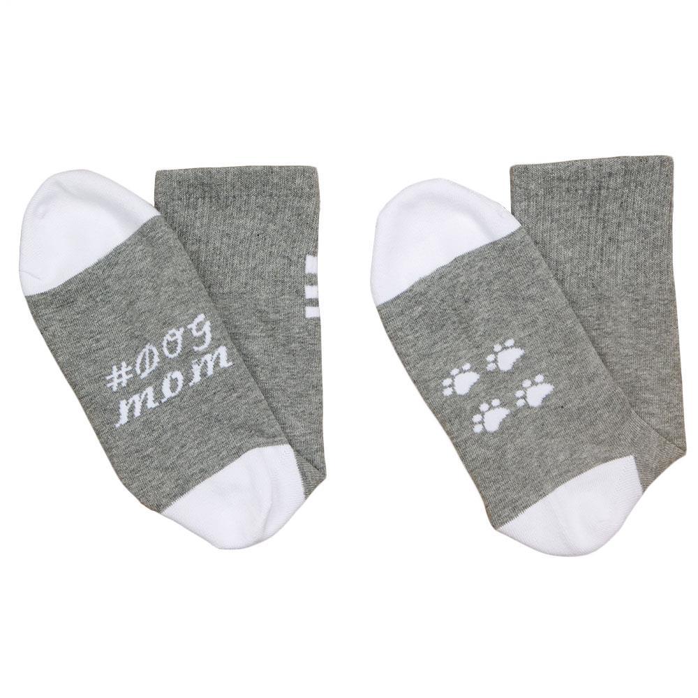 Autumn Kawaii Women Socks Cartoon Cat Paw Pattern Letter Print Cute Socks Harajuku Casual Grey Splicing Compression Socks