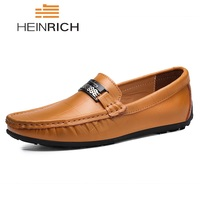 HEINRICH Genuine Leather Men Shoes Luxury Italian Brand Mens Loafers Shoes Mocasines For Man Slip On Shoes Men Zapatos Hombre