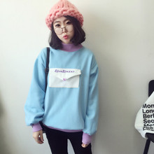 7055# 2016 newest autumn winter Hot sales Women's Letters plus velvet thicken velvet students high collar Sweatshirts