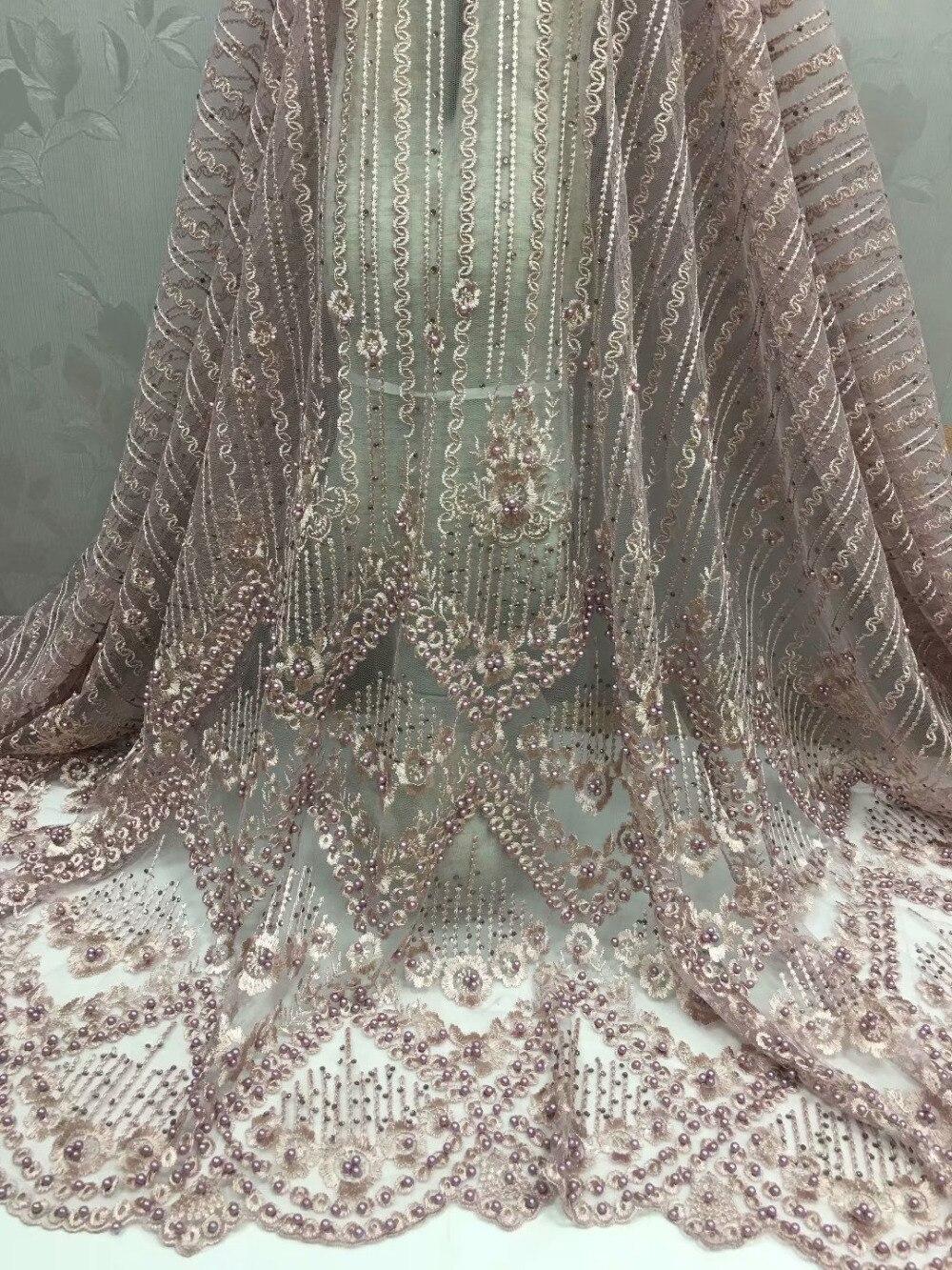 Elegante tela de tul nigeriano encaje francés con piedras cuentas 2018 tela de encaje de novia africana de alta calidad para vestido de novia dorado-in encaje from Hogar y Mascotas    2