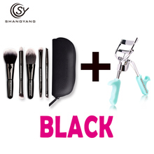 sy Hot Sale Makeup Brush Set Mini Size Soft Brushes With 1 Piece Professional Eyelash Curler