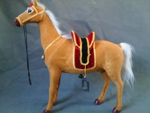 Simulation cheval jaune grand modèle 42x40 cm jouet, polyéthylène & fourrures cheval cloche avec selle, accessoire, décoration de la maison, cadeau de noël 0714