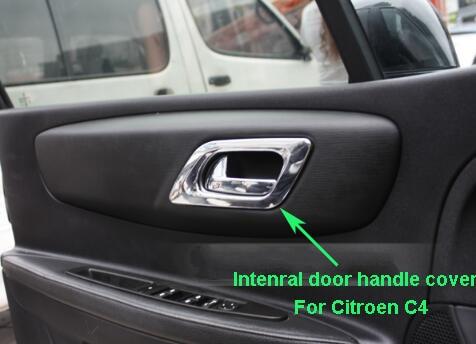 Prix pour De haute qualité ABS chrome 4 pcs porte intérieure couvercle de la poignée, poignée de porte décoration garniture, décoration cadre pour Citroen C4 2007-2011