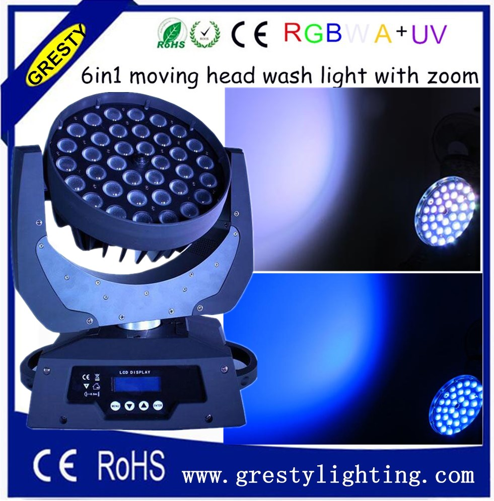 36pcs 18watt RGBWA UV 6 in1 led lavage de tête mobile avec zoom 6-en-1 led tête mobile